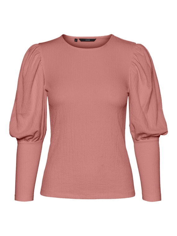 Sie L/S o-neck puff top Ash rose