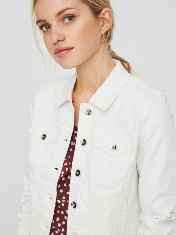 Hot soya LS denim jacket    Bright White
