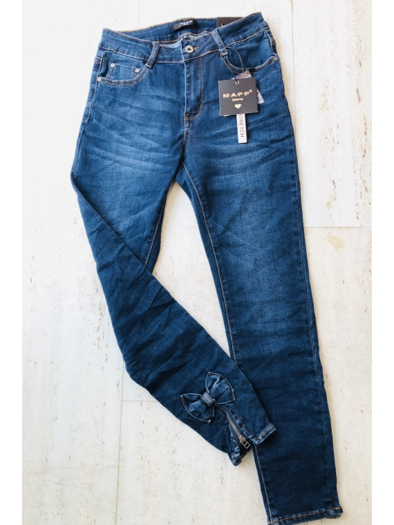 Bow jeans 7/8,mørk denim