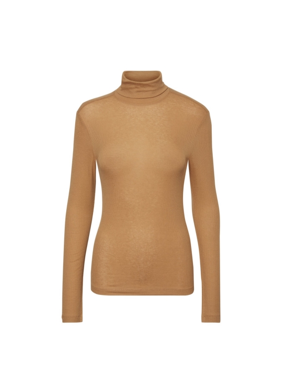 Kate LS H-neck top,tobacco brown
