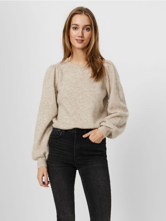 Lefile Puff LS Blouse Birch Melange